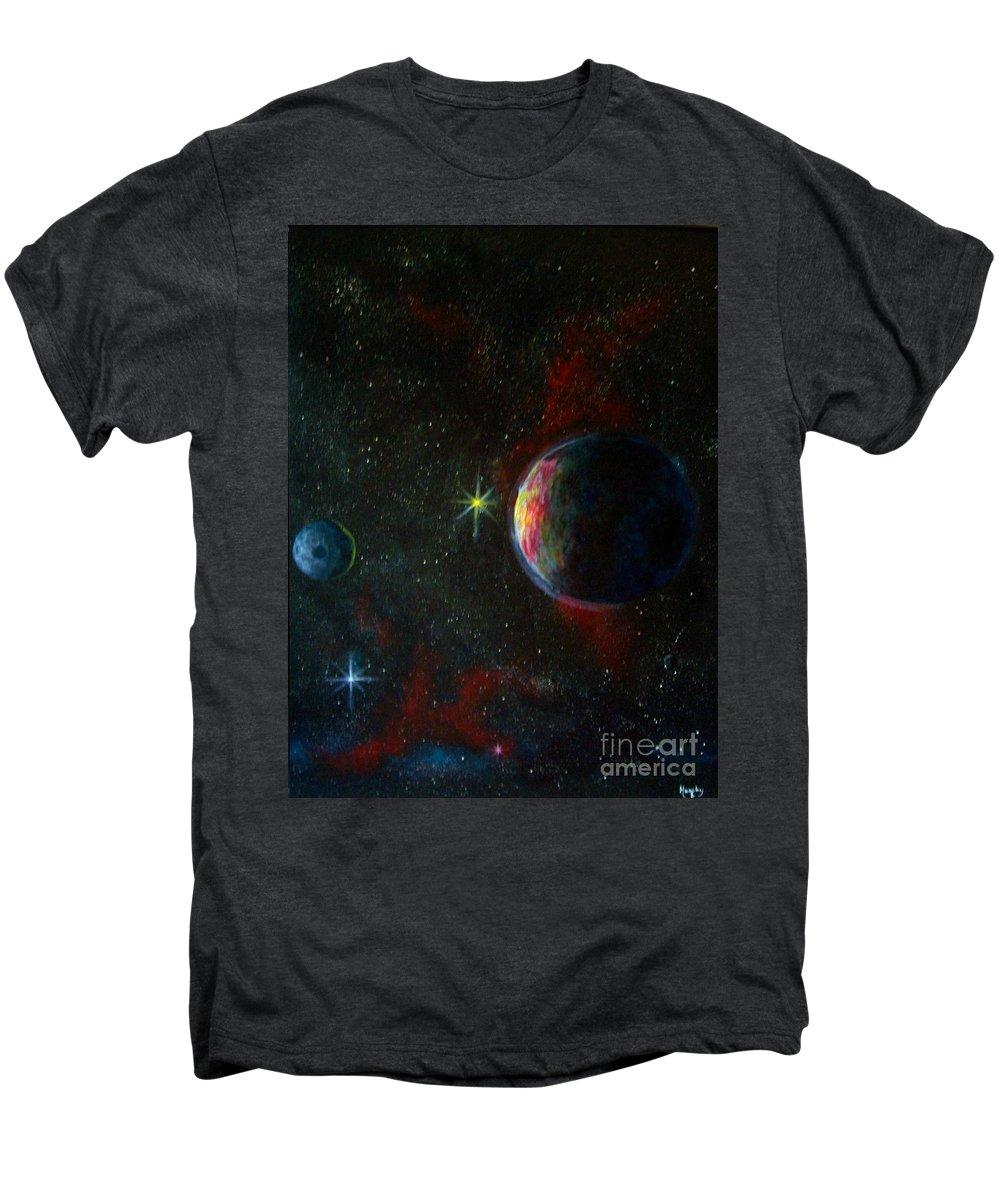 Cosmos Men's Premium T-Shirt featuring the painting Alien Worlds by Murphy Elliott