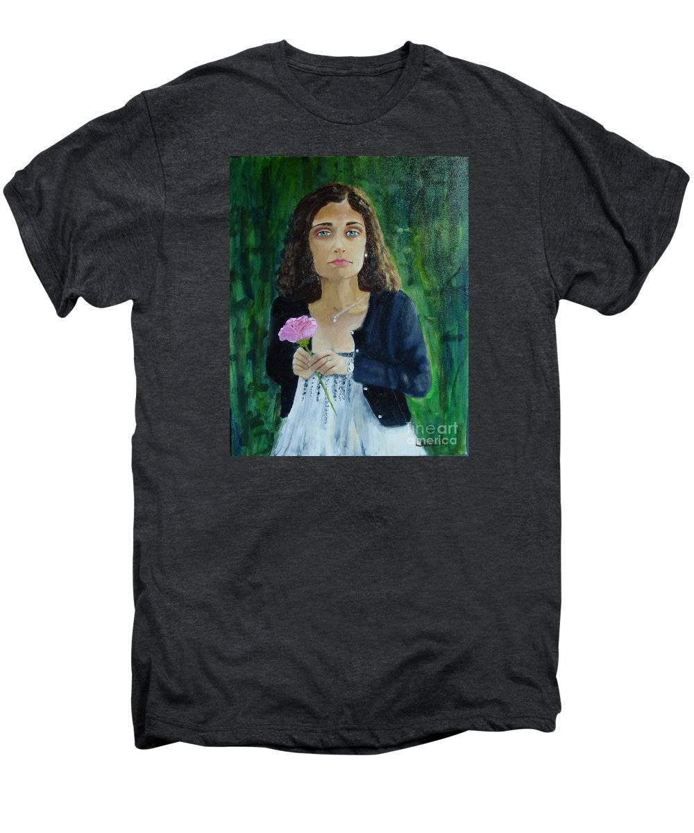 Portrait Men's Premium T-Shirt featuring the painting Aly by Laurie Morgan