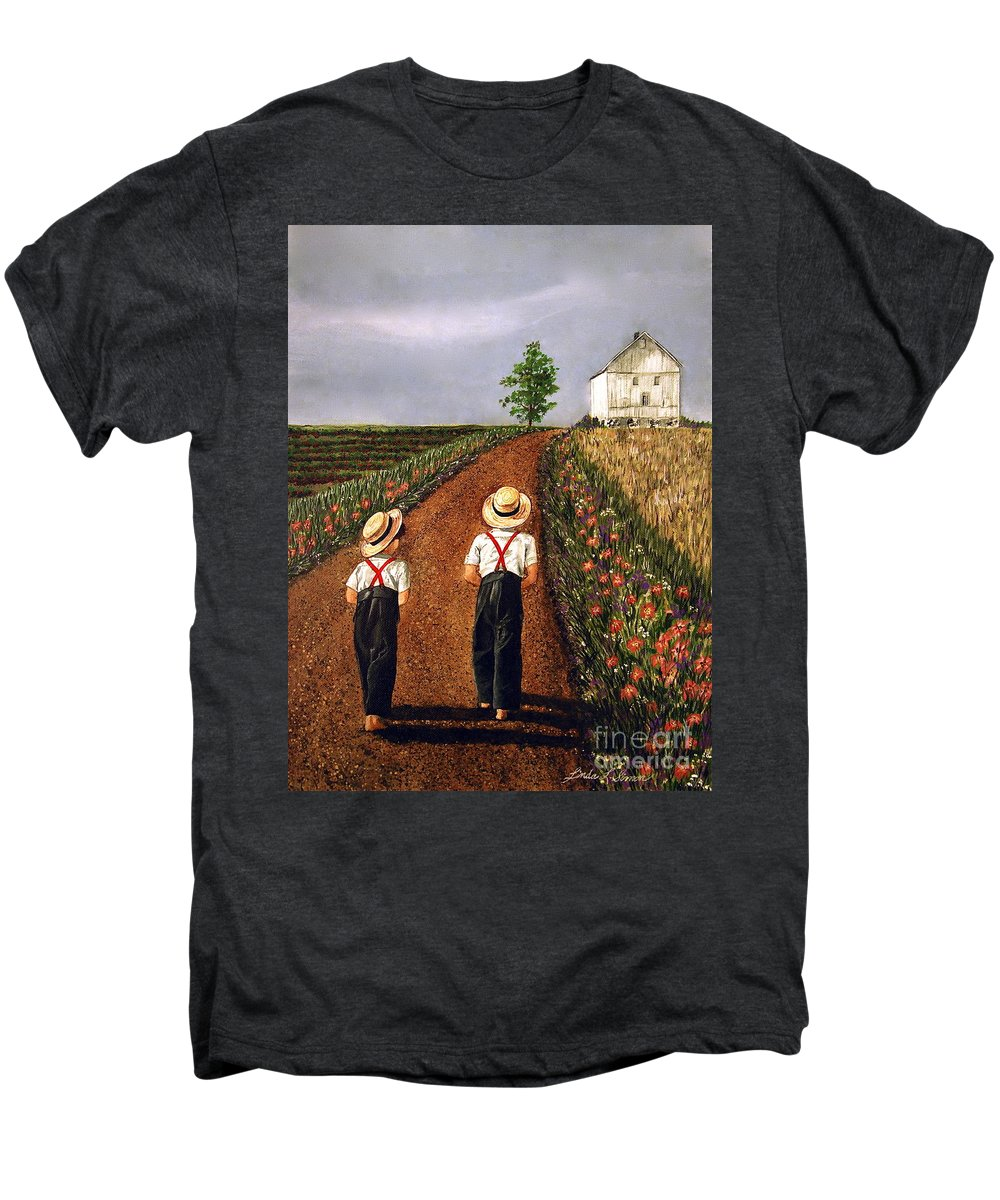 Lifestyle Men's Premium T-Shirt featuring the painting Amish Road by Linda Simon