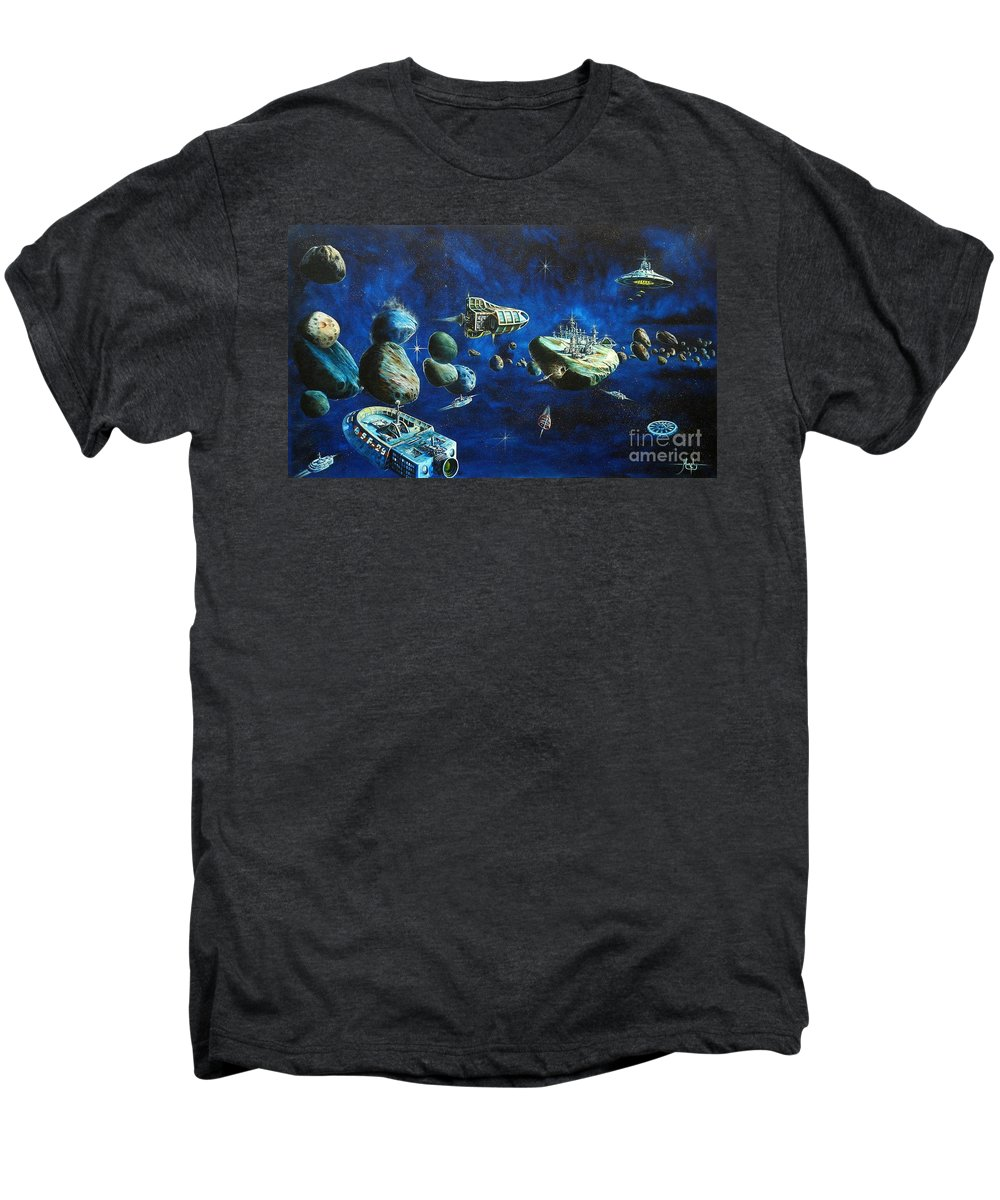 Fantasy Men's Premium T-Shirt featuring the painting Asteroid City by Murphy Elliott