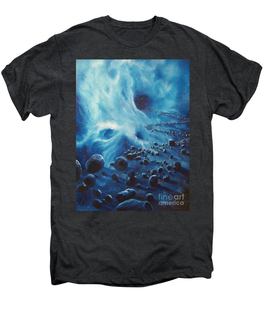 Si-fi Men's Premium T-Shirt featuring the painting Asteroid River by Murphy Elliott