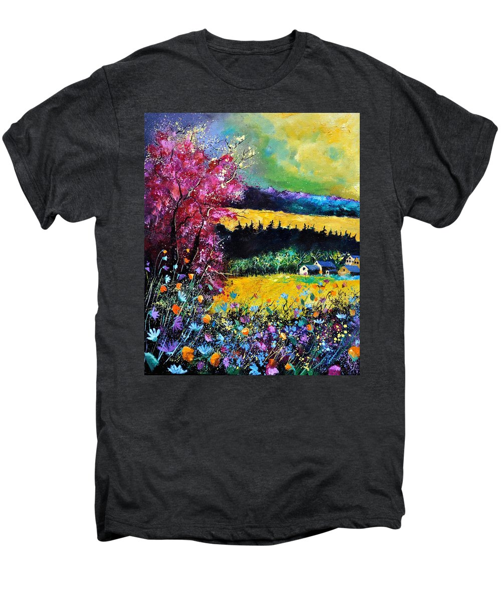 Landscape Men's Premium T-Shirt featuring the painting Autumn Flowers by Pol Ledent