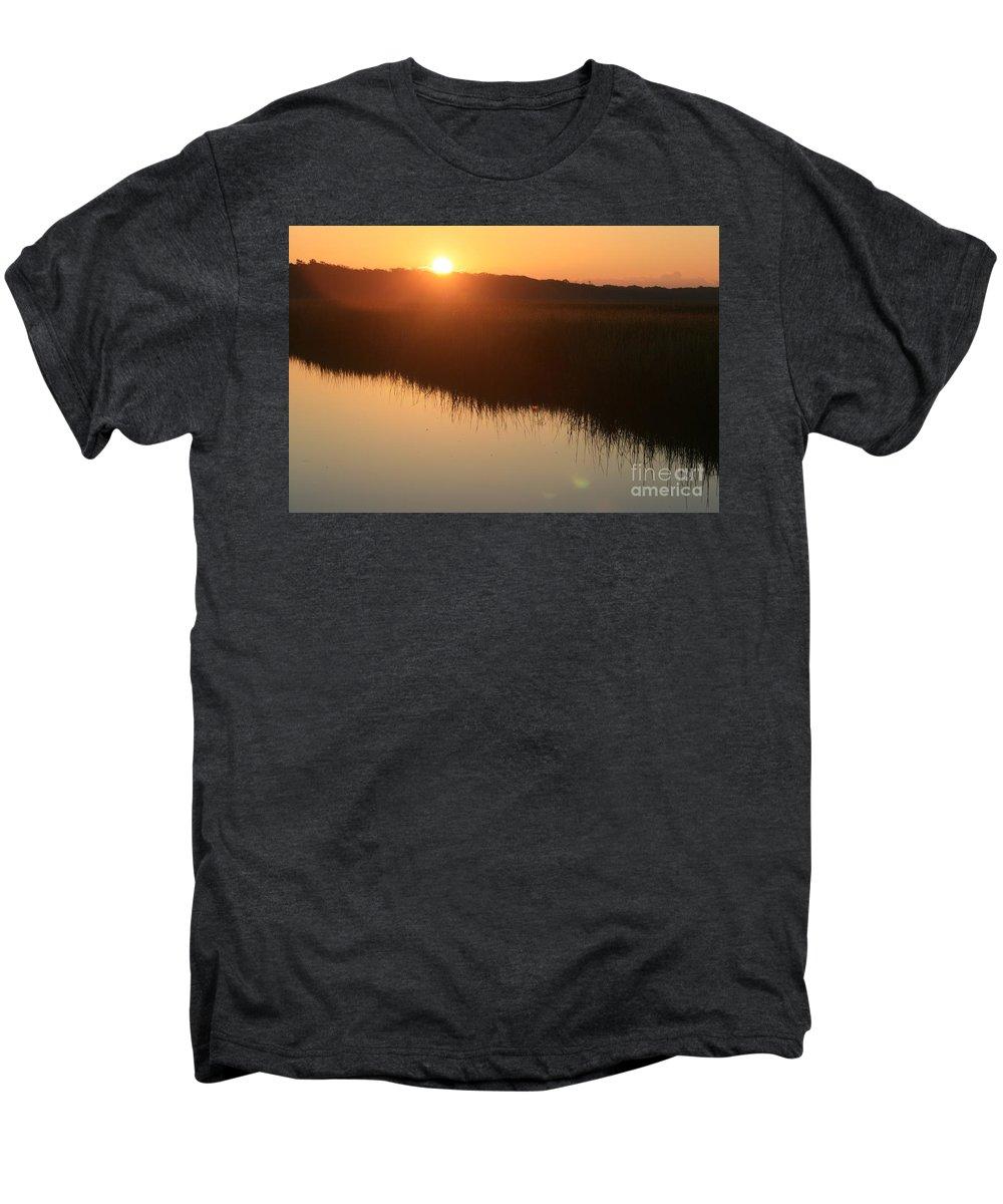Sunrise Men's Premium T-Shirt featuring the photograph Autumn Sunrise Over The Marsh by Nadine Rippelmeyer
