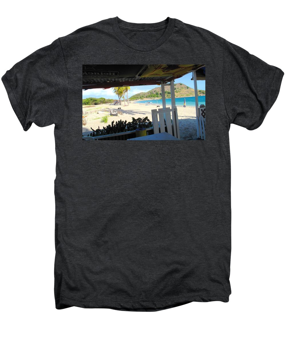 St Kitts Men's Premium T-Shirt featuring the photograph Beach Bar In January by Ian MacDonald