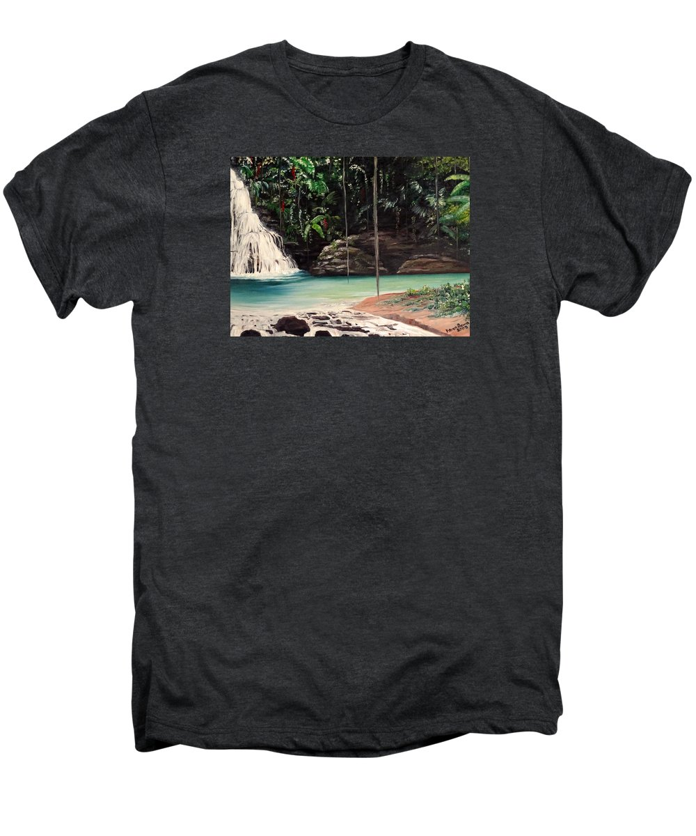 Tropical Waterfall Men's Premium T-Shirt featuring the painting Blue Basin by Karin Dawn Kelshall- Best