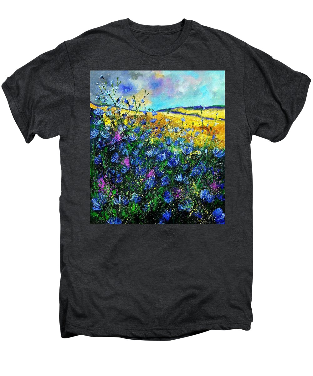 Flowers Men's Premium T-Shirt featuring the painting Blue Wild Chicorees by Pol Ledent