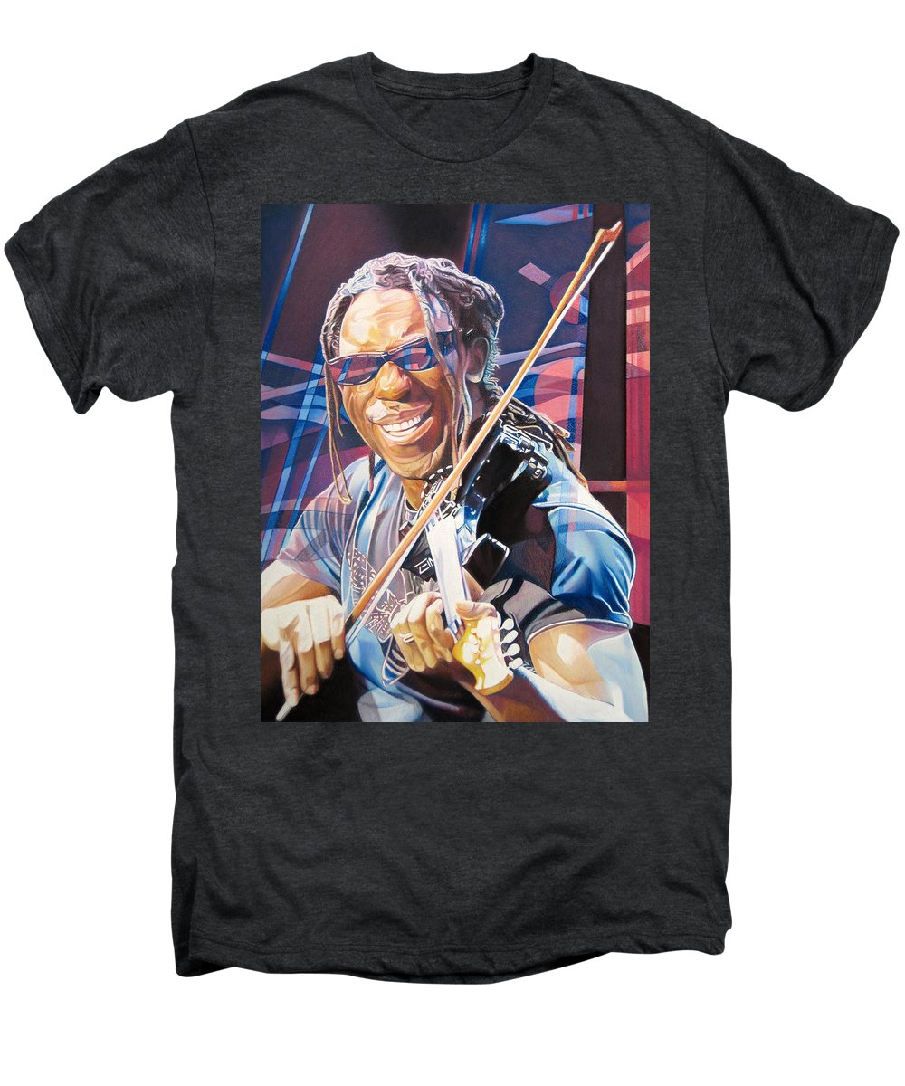 Boyd Tinsley Men's Premium T-Shirt featuring the drawing Boyd Tinsley And 2007 Lights by Joshua Morton