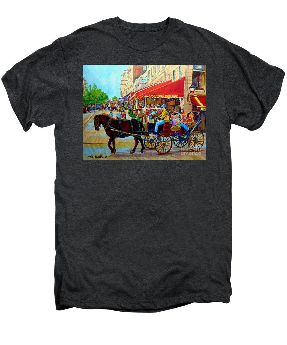 Cafe La Grande Terrasse Men's Premium T-Shirt featuring the painting Cafe La Grande Terrasse by Carole Spandau