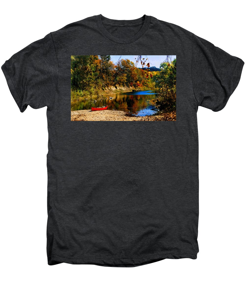 Autumn Men's Premium T-Shirt featuring the photograph Canoe On The Gasconade River by Steve Karol