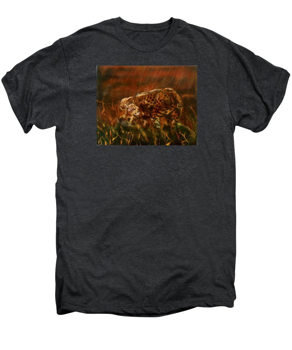 Rain;water;cats;africa;wildlife;animals;mother;shelter;brush;bush Men's Premium T-Shirt featuring the painting Cheetah Family After The Rains by Sean Connolly