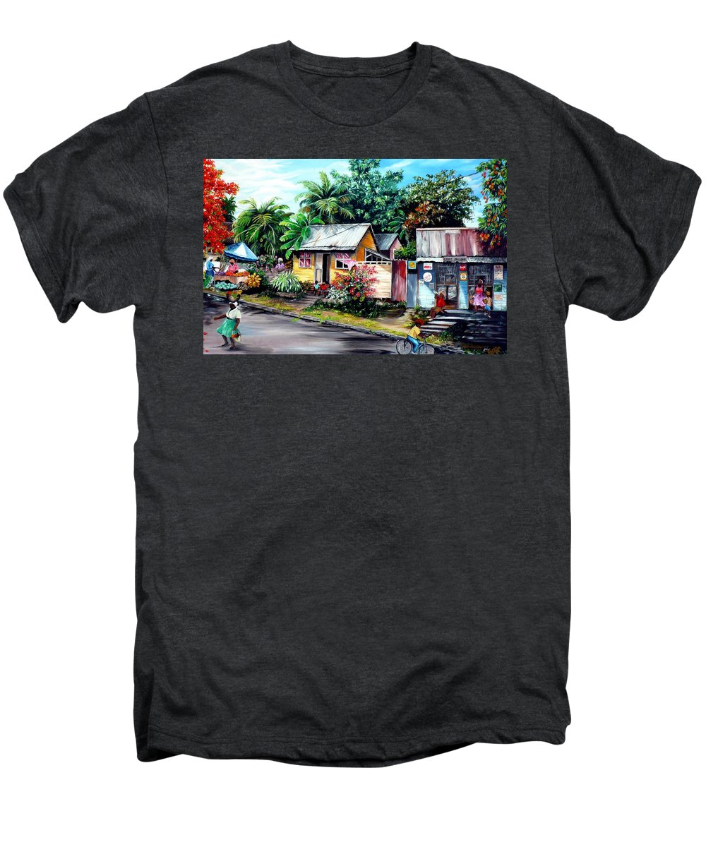 Landscape Painting Caribbean Painting Shop Trinidad Tobago Poinciana Painting Market Caribbean Market Painting Tropical Painting Men's Premium T-Shirt featuring the painting Chins Parlour   by Karin Dawn Kelshall- Best