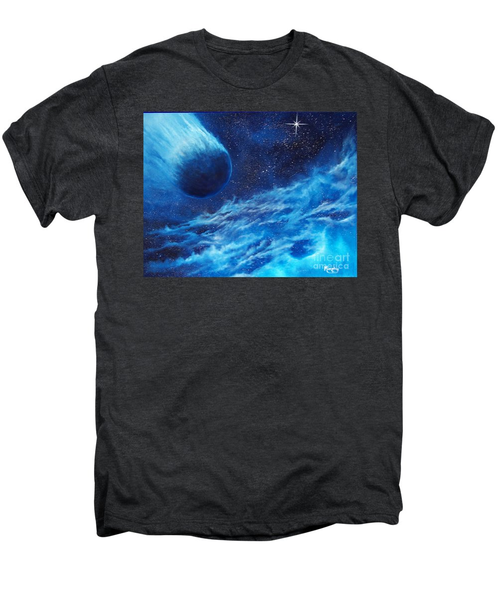 Astro Men's Premium T-Shirt featuring the painting Comet Experience by Murphy Elliott