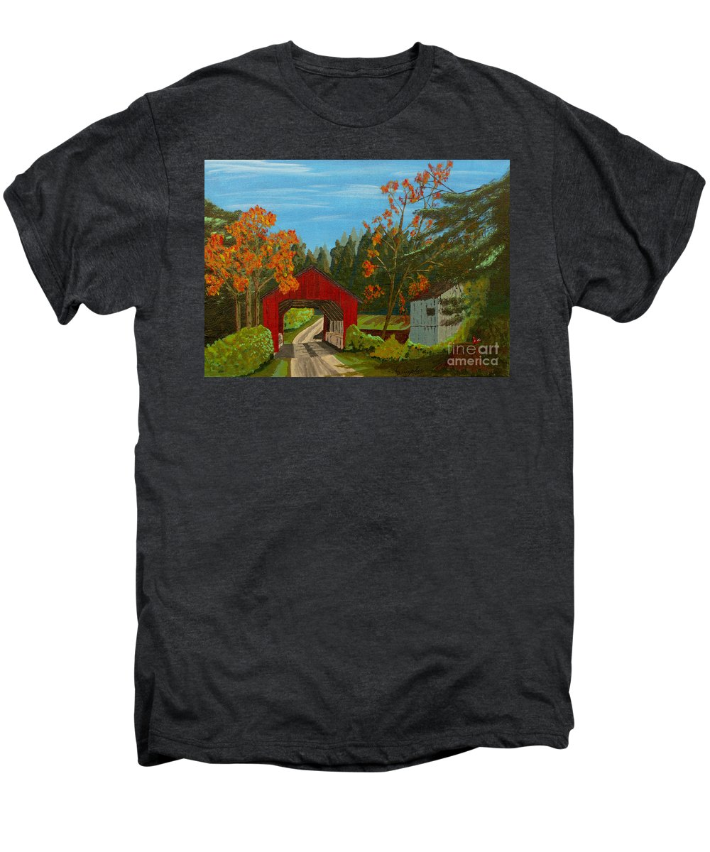 Path Men's Premium T-Shirt featuring the painting Covered Bridge by Anthony Dunphy