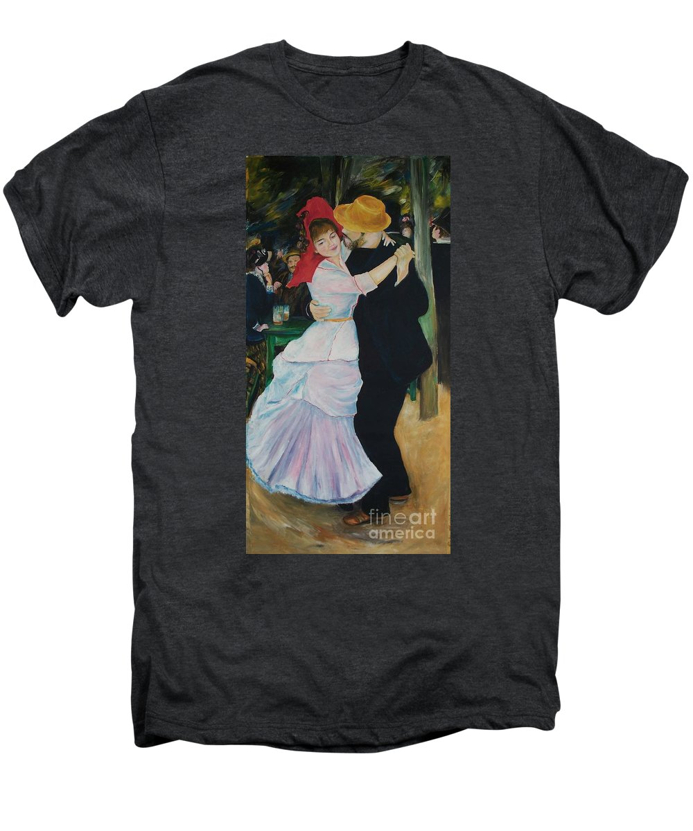 Impressionism Men's Premium T-Shirt featuring the painting Dance At Bougival Renoir by Eric Schiabor
