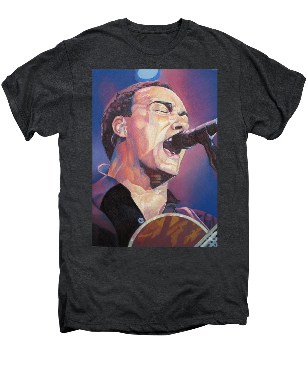 Dave Matthews Men's Premium T-Shirt featuring the drawing Dave Matthews Colorful Full Band Series by Joshua Morton