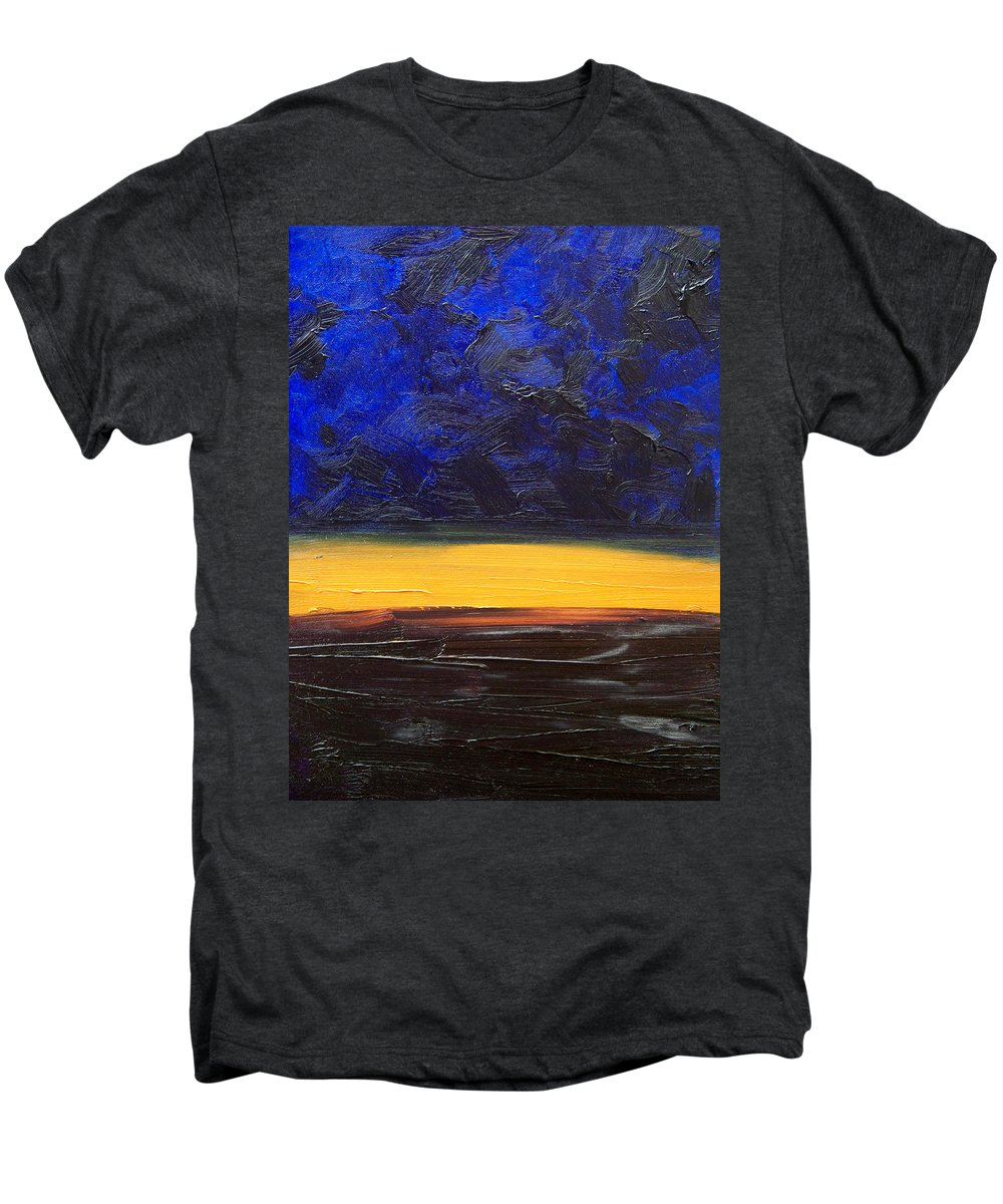 Landscape Men's Premium T-Shirt featuring the painting Desert Plains by Sergey Bezhinets