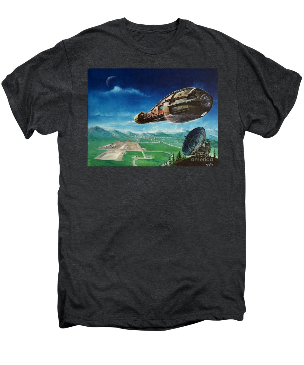 Landscape Men's Premium T-Shirt featuring the painting Did You Call by Murphy Elliott