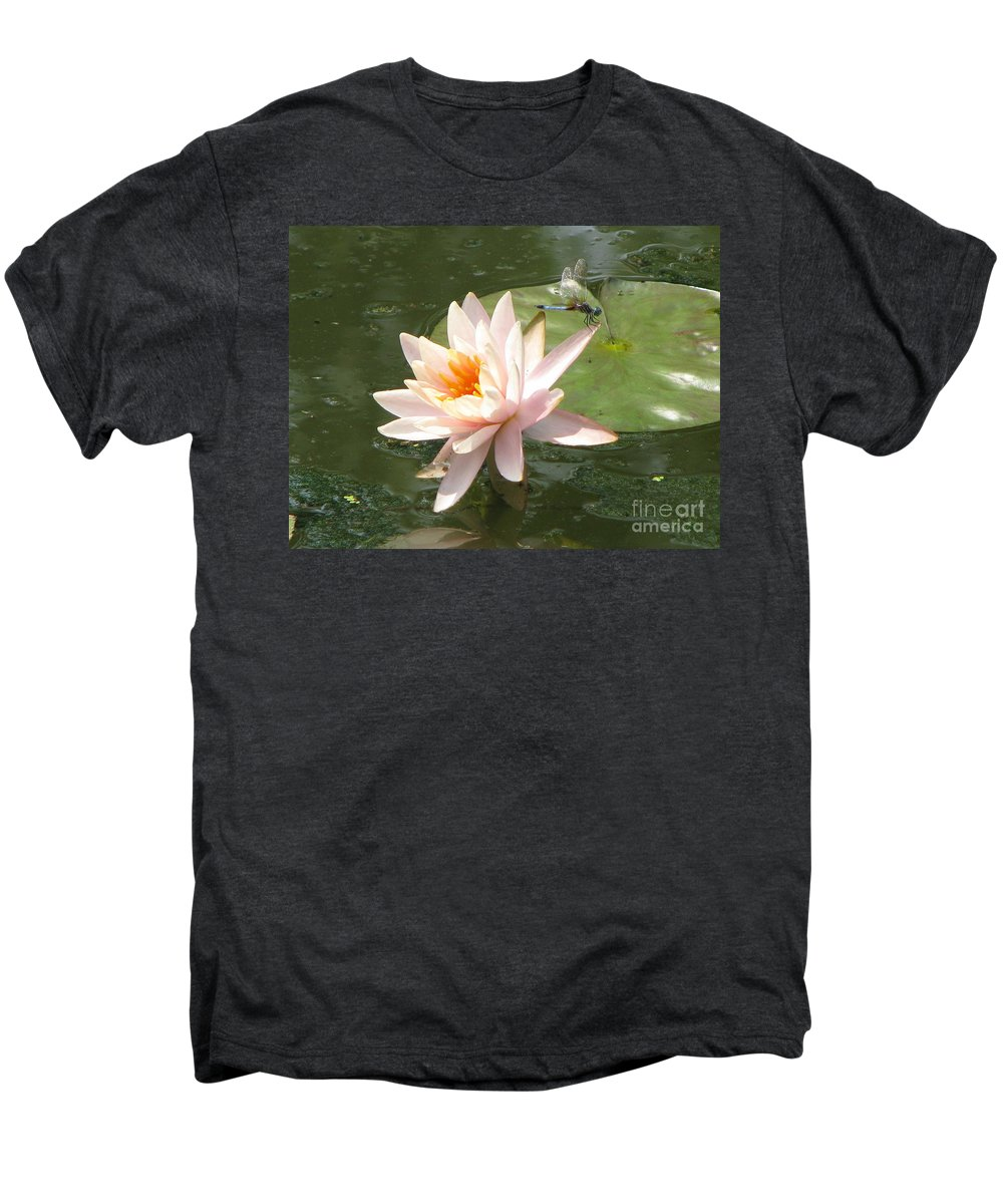 Dragon Fly Men's Premium T-Shirt featuring the photograph Dragonfly Landing by Amanda Barcon