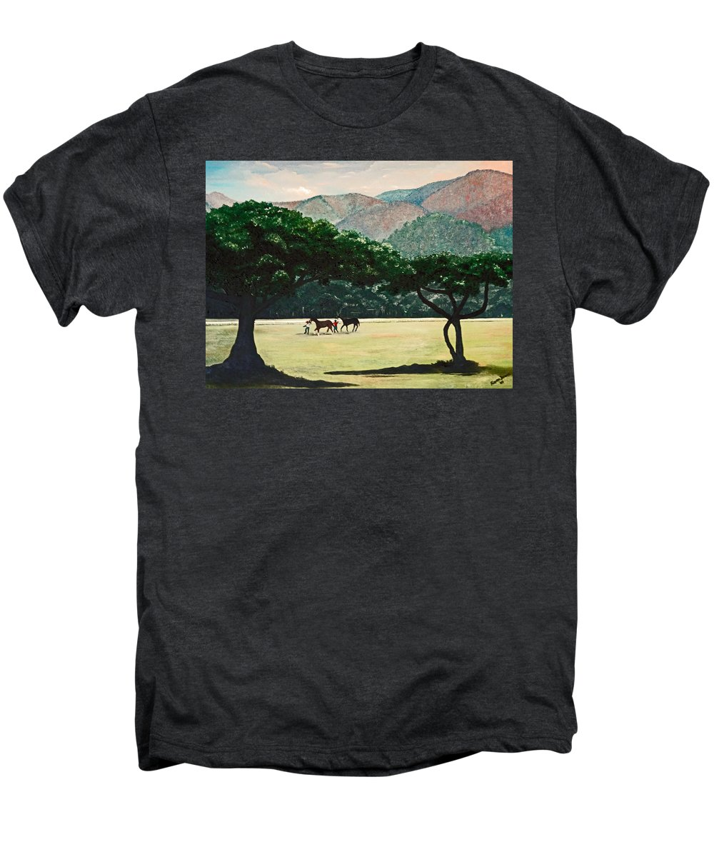 Trees Men's Premium T-Shirt featuring the painting Early Morning Savannah by Karin Dawn Kelshall- Best