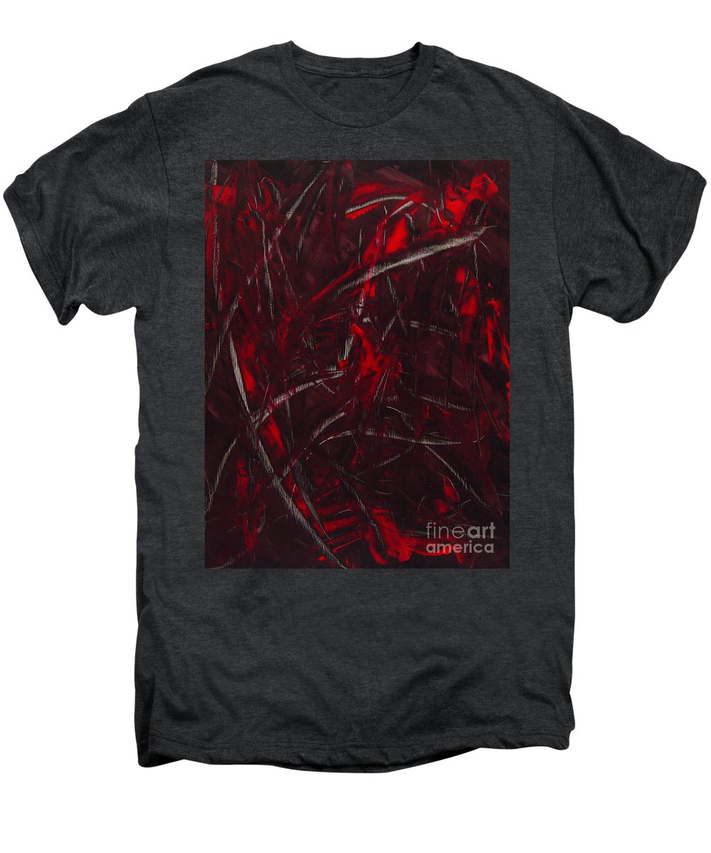 Abstract Men's Premium T-Shirt featuring the painting Expectations Red by Dean Triolo