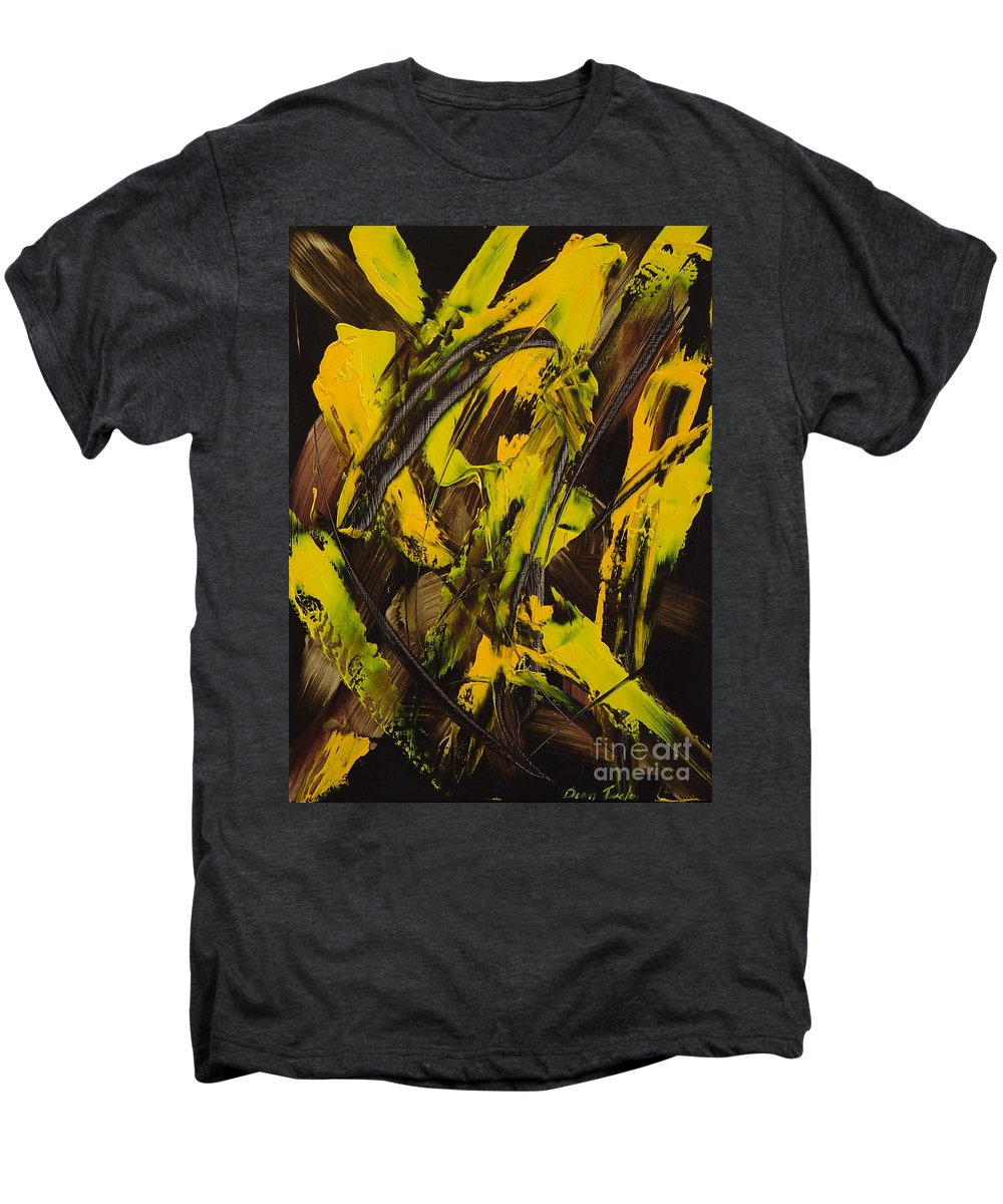 Abstract Men's Premium T-Shirt featuring the painting Expectations Yellow by Dean Triolo