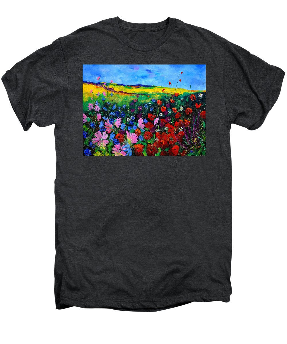 Poppies Men's Premium T-Shirt featuring the painting Field Flowers by Pol Ledent