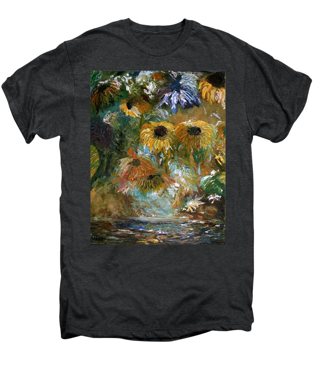 Flowers Men's Premium T-Shirt featuring the painting Flower Rain by Jack Diamond