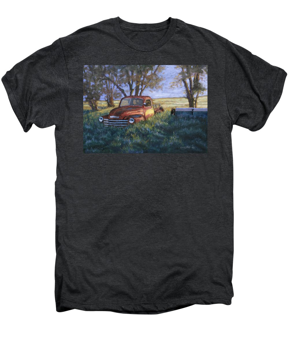 Pickup Truck Men's Premium T-Shirt featuring the painting Forgotten But Still Good by Jerry McElroy