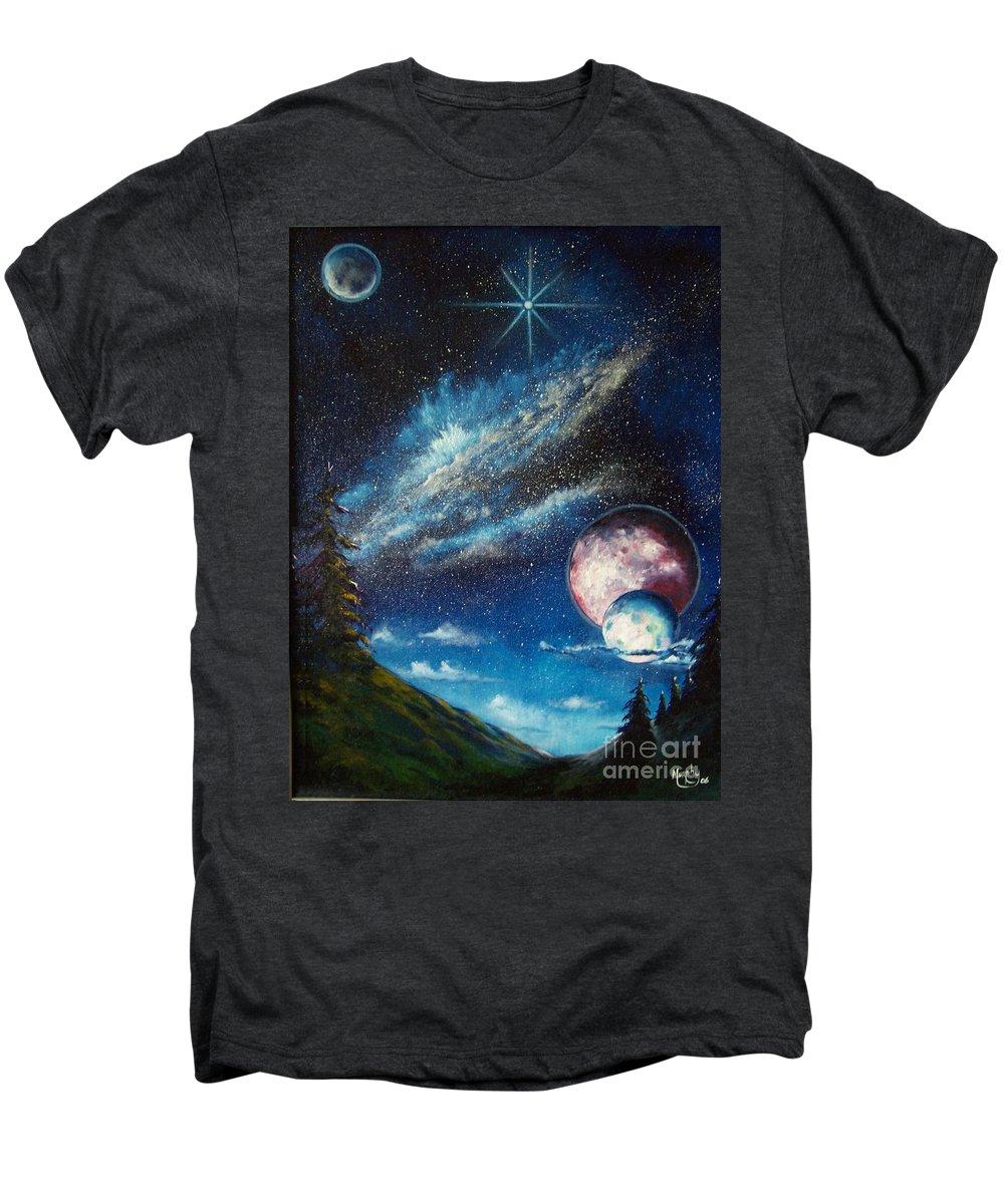 Space Horizon Men's Premium T-Shirt featuring the painting Galatic Horizon by Murphy Elliott