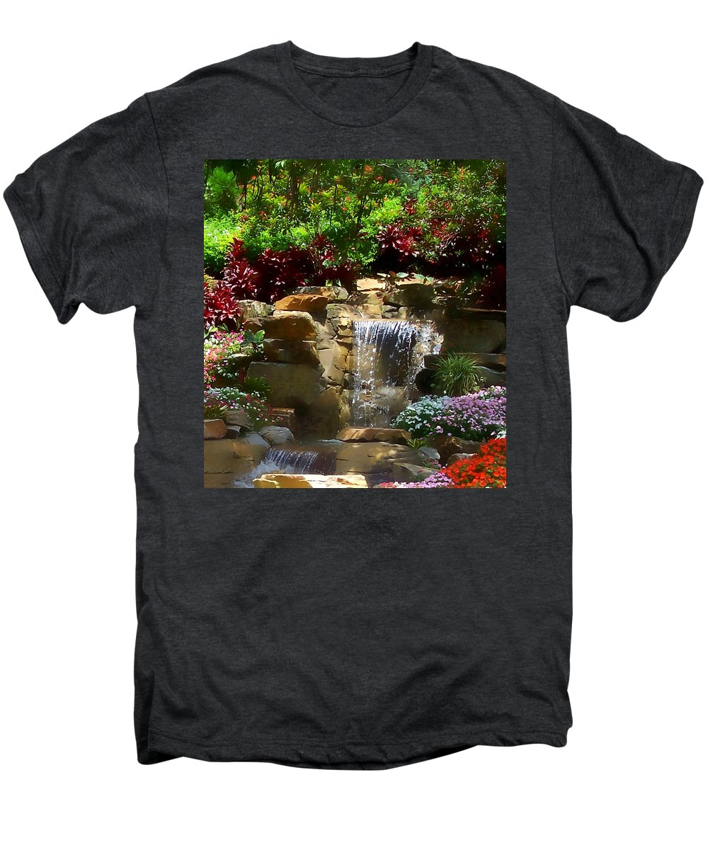 Garden Men's Premium T-Shirt featuring the photograph Garden Waterfalls by Pharris Art