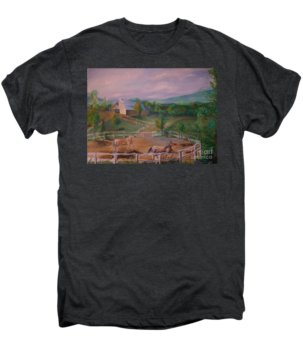 Pennsylvania Men's Premium T-Shirt featuring the painting Gettysburg Farm by Eric Schiabor