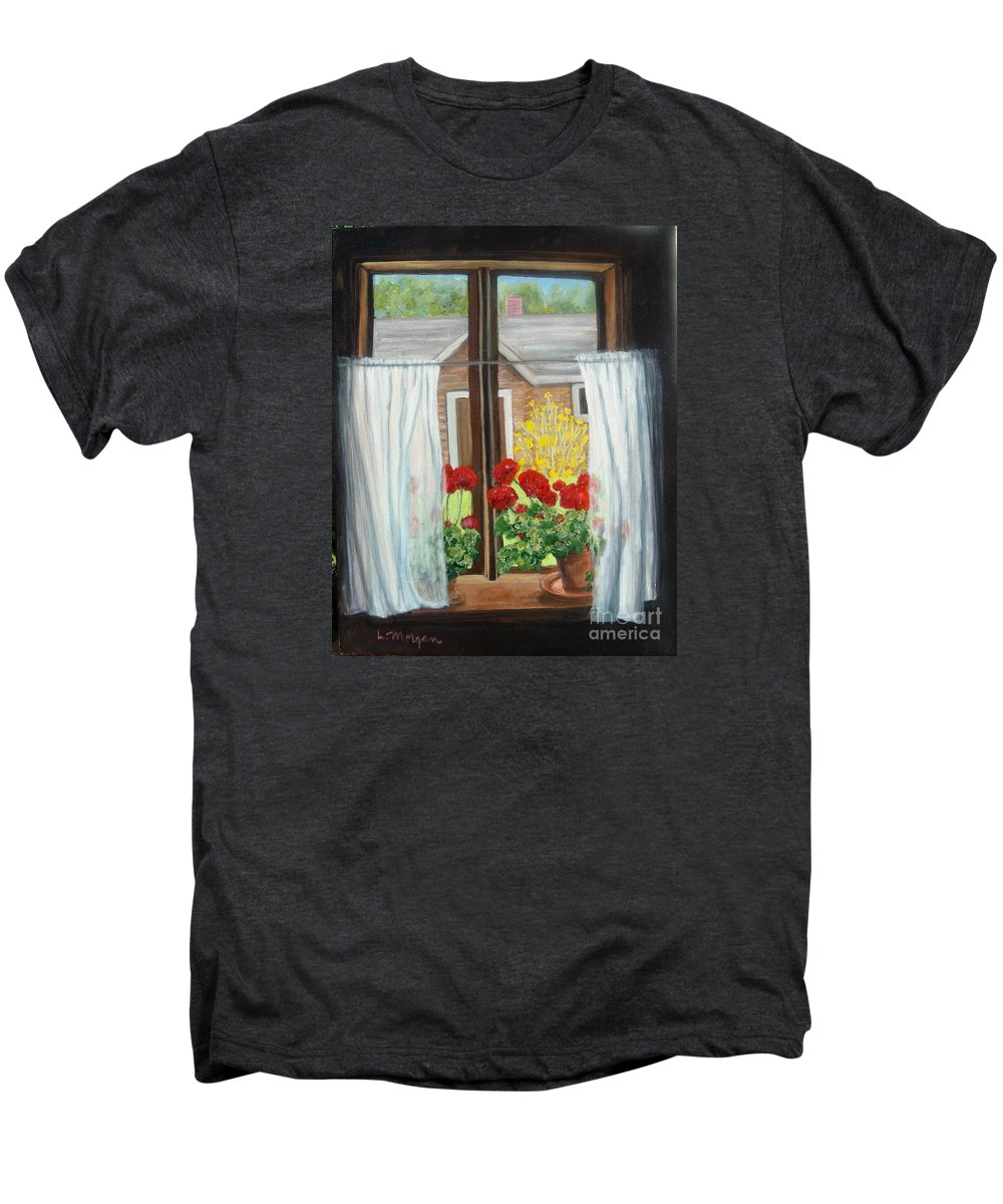 Windows Men's Premium T-Shirt featuring the painting Greet The Day by Laurie Morgan