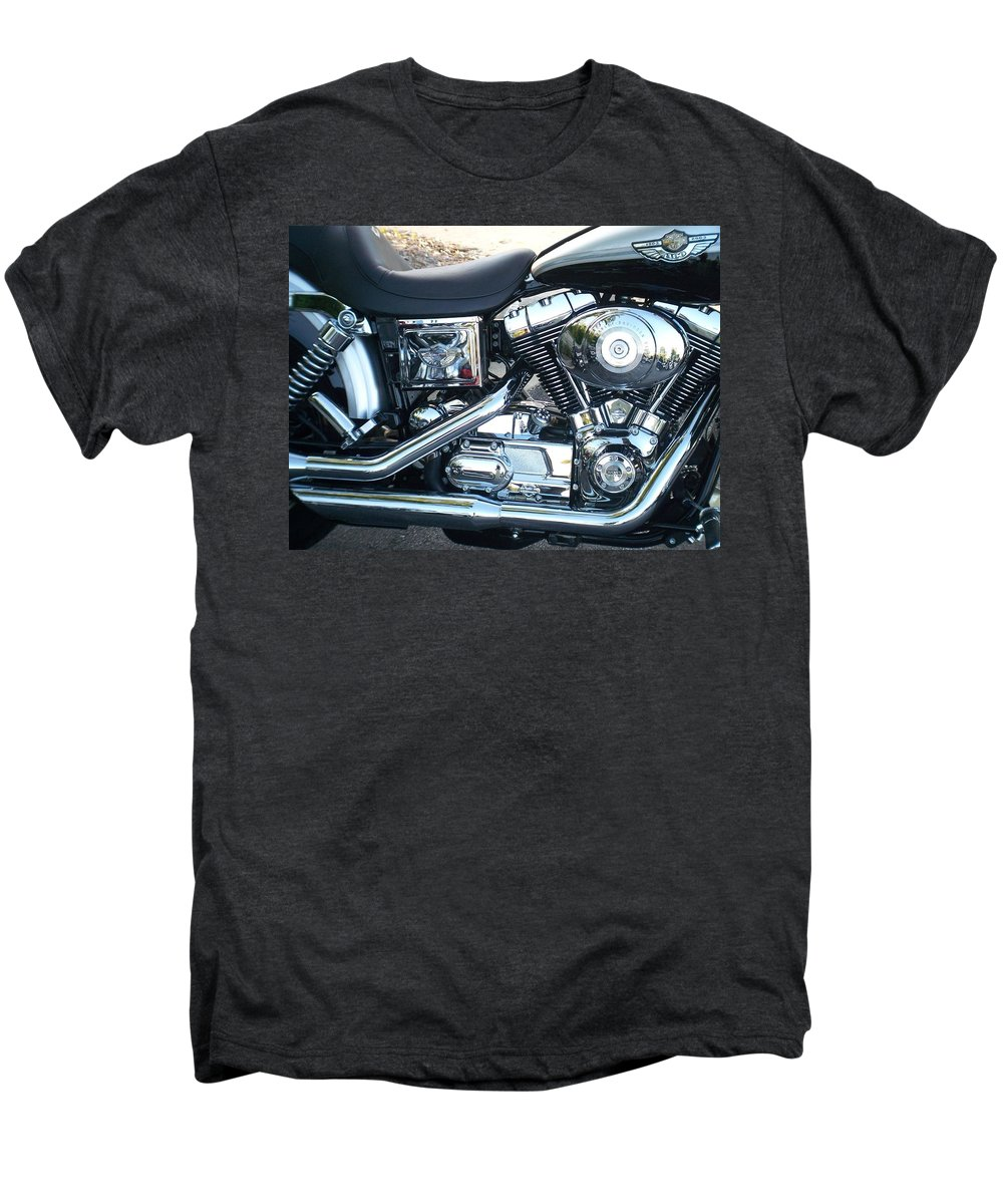 Motorcycles Men's Premium T-Shirt featuring the photograph Harley Black And Silver Sideview by Anita Burgermeister