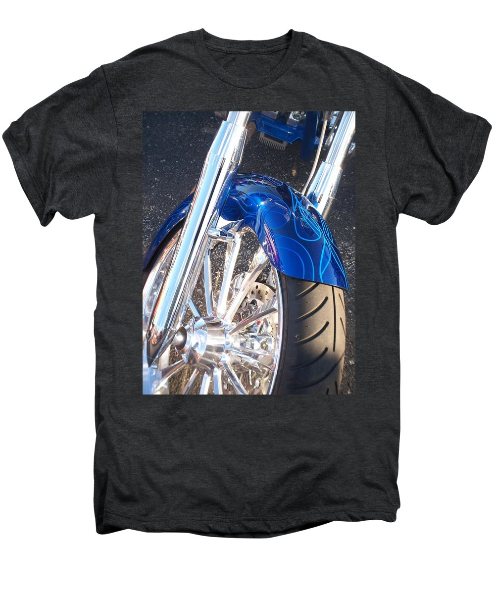 Motorcycles Men's Premium T-Shirt featuring the photograph Harley Close-up Blue Flame by Anita Burgermeister