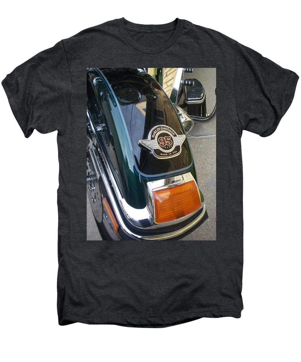 Motorcycles Men's Premium T-Shirt featuring the photograph Harley Close-up Tail Light by Anita Burgermeister