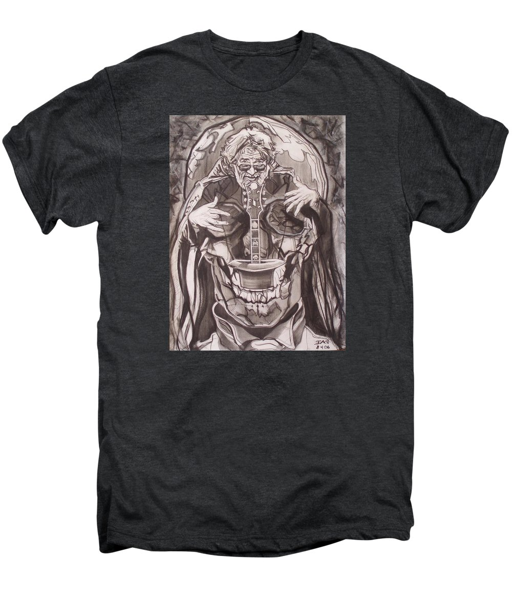 Charcoal; Skull;guitar;music;magic;mystic;wizard;cape;hat;shades;grateful Dead;deadheads Men's Premium T-Shirt featuring the drawing Jerry Garcia . . Magic Is What We Do - Music Is How We Do It by Sean Connolly