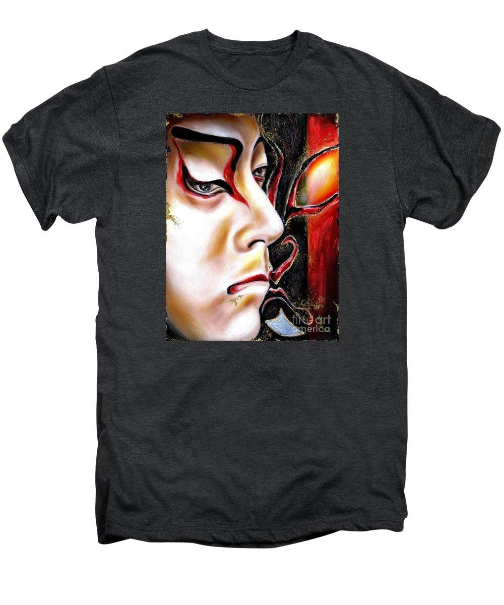 Kabuki Men's Premium T-Shirt featuring the painting Kabuki Three by Hiroko Sakai