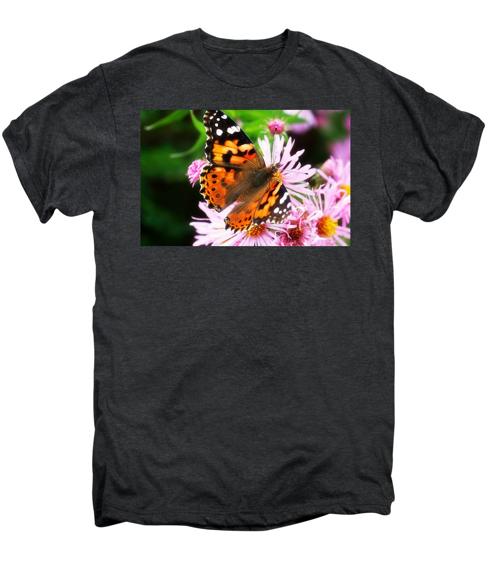 Flower Men's Premium T-Shirt featuring the photograph Late Summer Painted Lady by Marilyn Hunt