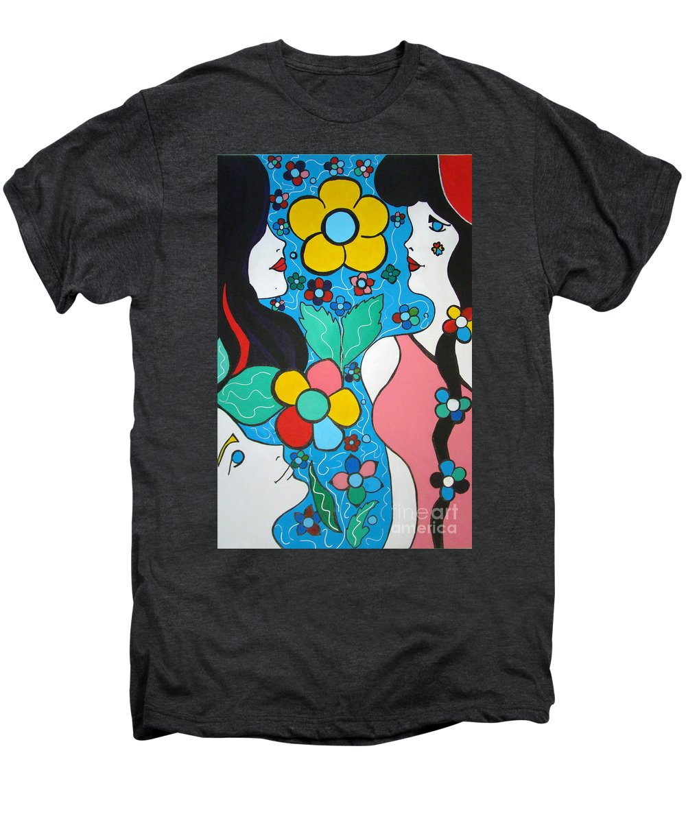 Pop-art Men's Premium T-Shirt featuring the painting Life Is Beautiful by Silvana Abel