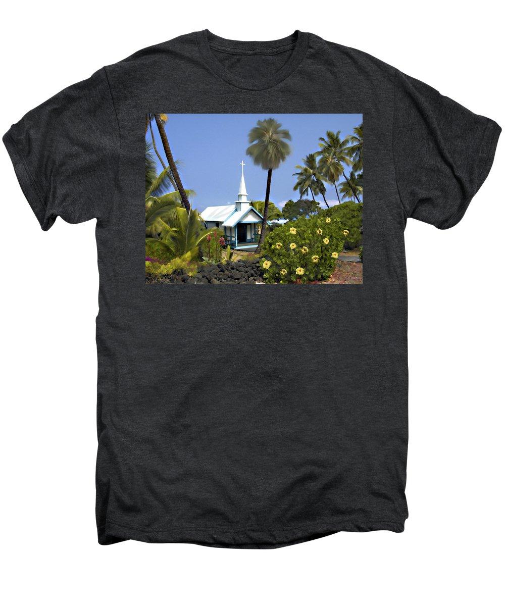 Hawaii Men's Premium T-Shirt featuring the photograph Little Blue Church Kona by Kurt Van Wagner