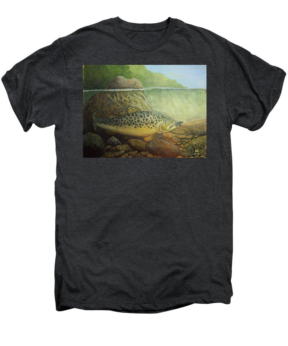 Rick Huotari Men's Premium T-Shirt featuring the painting Lurking by Rick Huotari
