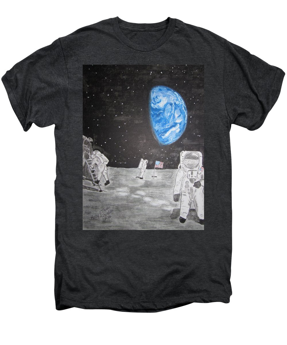 Stars Men's Premium T-Shirt featuring the painting Man On The Moon by Kathy Marrs Chandler