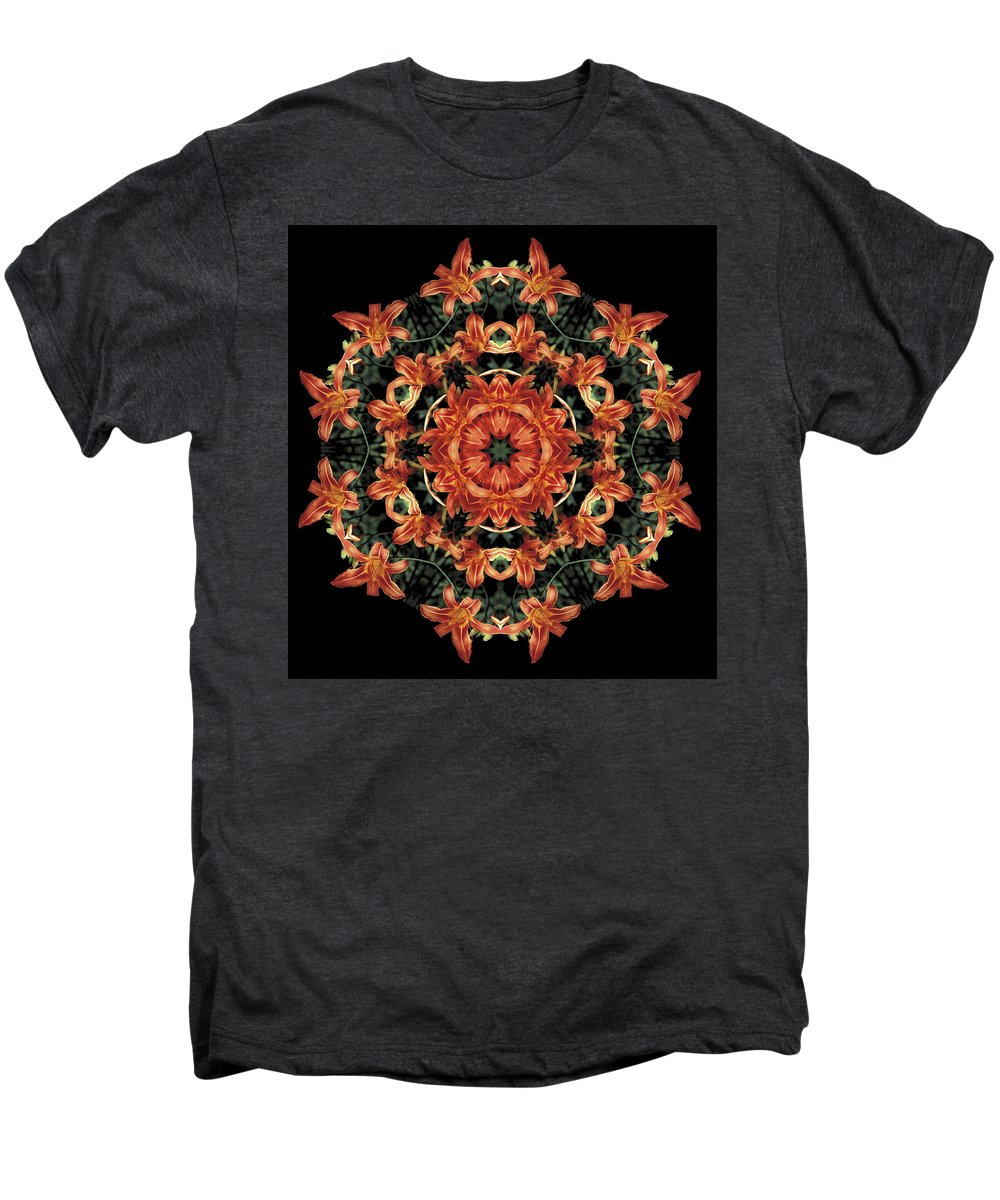 Mandala Men's Premium T-Shirt featuring the photograph Mandala Daylily by Nancy Griswold