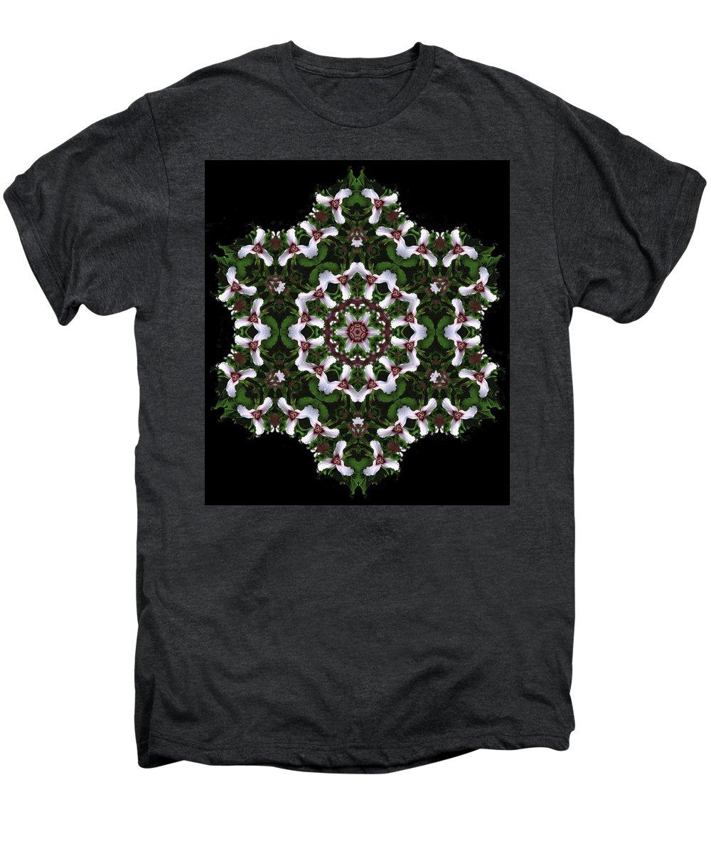 Mandala Men's Premium T-Shirt featuring the digital art Mandala Trillium Holiday by Nancy Griswold