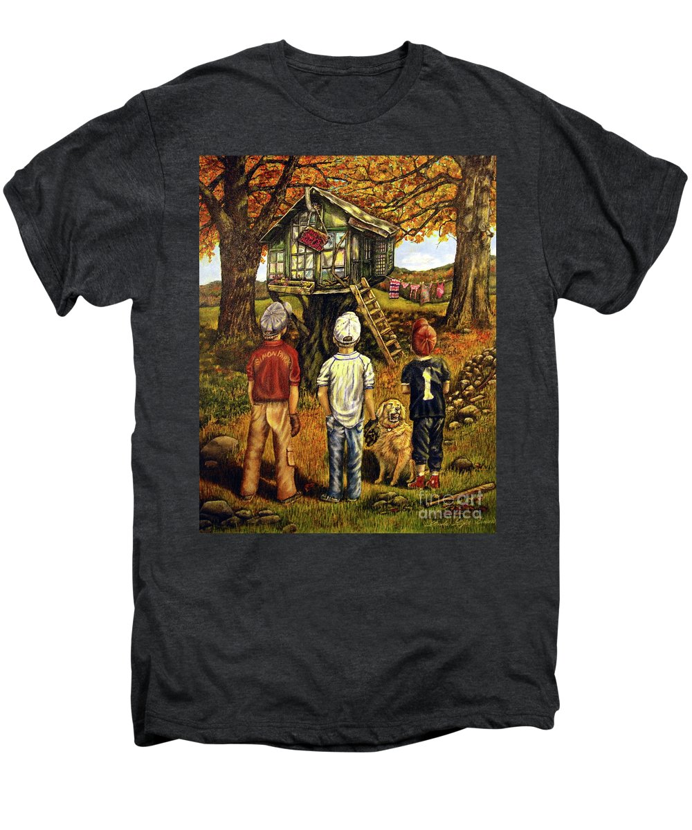 Trees Men's Premium T-Shirt featuring the painting Meadow Haven by Linda Simon