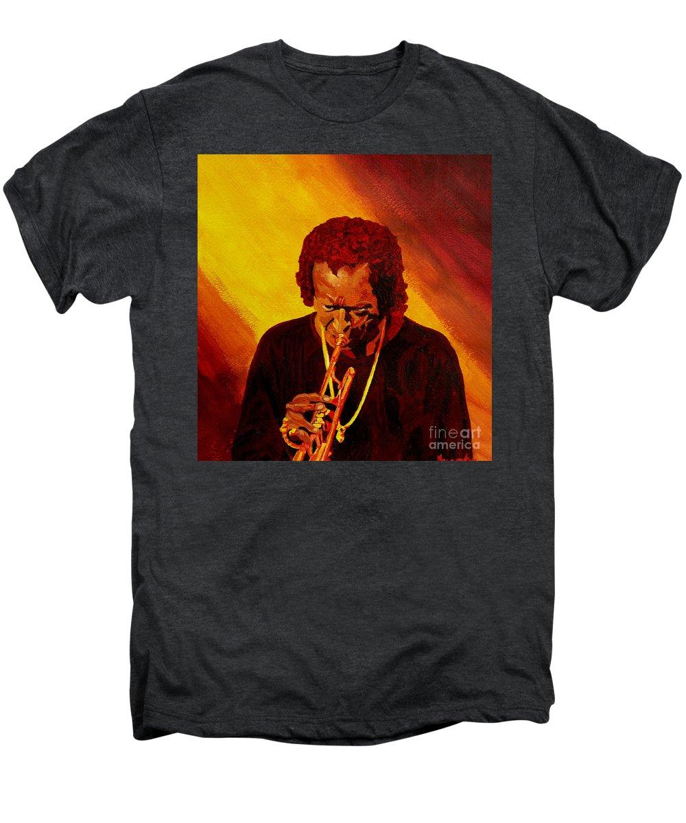Miles Davis Men's Premium T-Shirt featuring the painting Miles Davis Jazz Man by Anthony Dunphy
