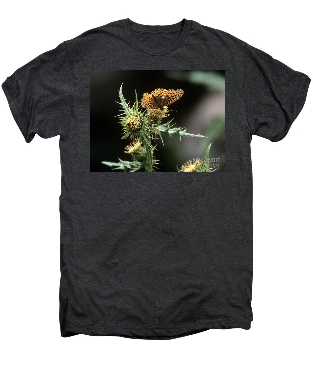 Butterfly Men's Premium T-Shirt featuring the photograph Monarch On Thistle by Kathy McClure