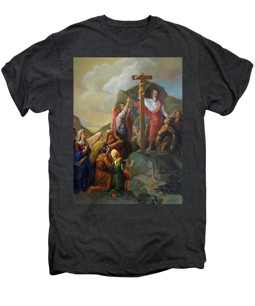 Moses Men's Premium T-Shirt featuring the painting Moses And The Brazen Serpent - Biblical Stories by Svitozar Nenyuk
