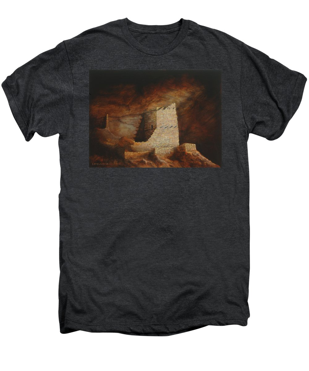 Anasazi Men's Premium T-Shirt featuring the painting Mummy Cave by Jerry McElroy