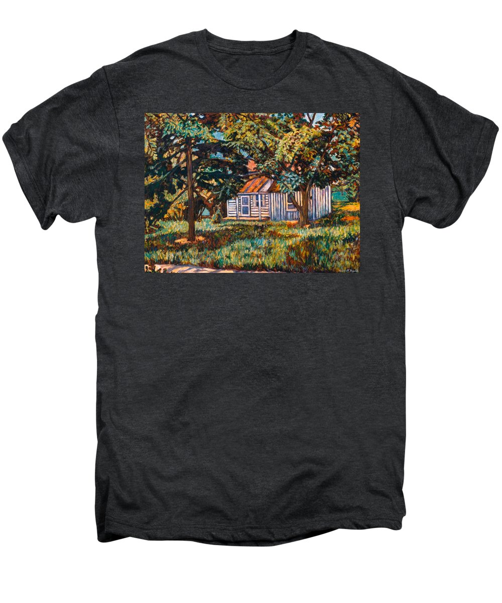 Architecture Men's Premium T-Shirt featuring the painting Near The Tech Duck Pond by Kendall Kessler
